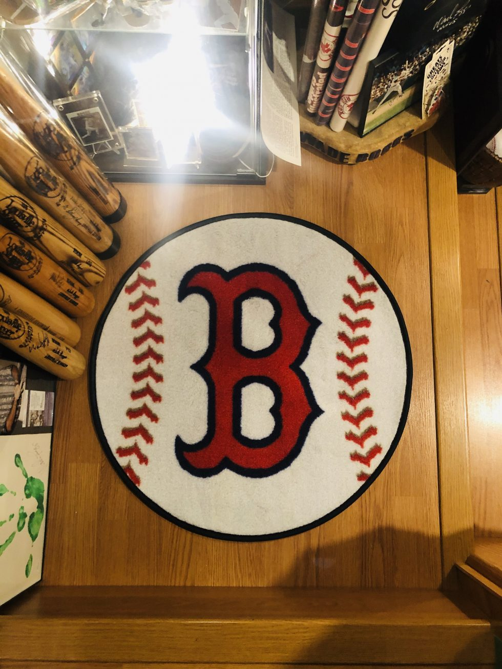 Added a Red Sox floor mat to the bottom of the mancave steps. 😀🐔🐓🍗&#