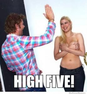 Just a guy being a guy.. high-five-topless-girl