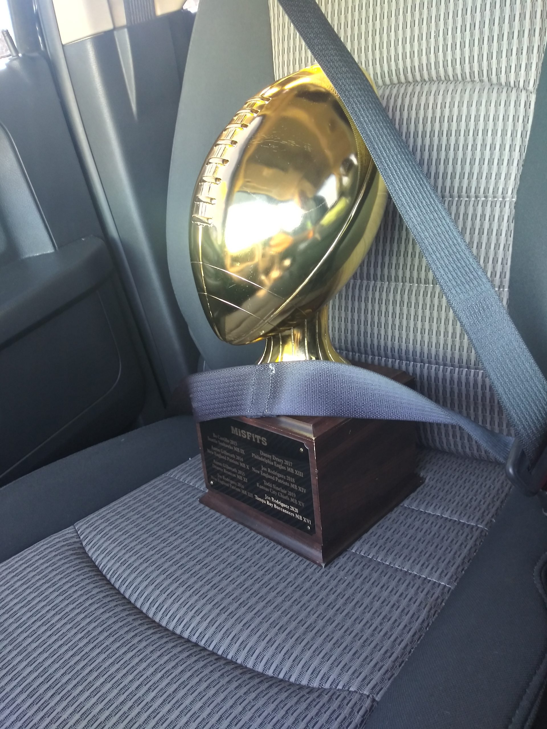 Bringing our 2020 Misfits XVI Pick Em' League trophy home safely. 3 out of the last 5 years, I